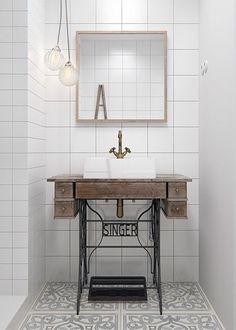 Small Space Solutions: Super Cute Sewing Table Hack to Upgrade Your Compact Bathroom Vanity Vintage Bathroom Sinks, Industrial Bathroom Vanity, Compact Bathroom, Bathroom Vanities, Bathroom Pink, Bathroom Showers, Mirror Bathroom, Bathroom Goals, Bathroom Basin