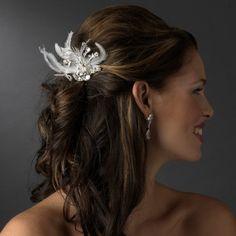 Amabel Gorgeous Rhinestone Dazzle Feather Wedding Bridal Hair Comb - Ivory Fairytale Bridal Tiara http://www.amazon.com/dp/B00HNWZ9MM/ref=cm_sw_r_pi_dp_i9kcub1YATW54