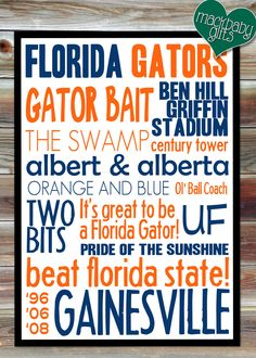 8x10 University of Florida Gators Typography Print. $12.99, via Etsy.