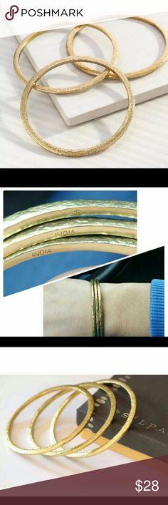 Silpada bracelet trio Beautiful trend trilogy, new, hammered brass, shiny gold tone. 3 piece set💕 Silpada Jewelry Bracelets