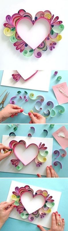 Learn How to Quill a darling Heart Shaped Mother's Day Paper Craft Gift Idea via Paper Chase - Moms and Grandmas will love these pretty handmade works of art! The BEST Easy DIY Mother's Day Gifts and Treats Ideas - Holiday Craft Activity Projects, Free Pr Easy Diy Mother's Day Gifts, Diy Mothers Day Gifts, Mother's Day Diy, Mother Gifts, Mothers Day Ideas, Mother Card, Mothers Day Presents, Gifts For Mum, Holiday Crafts