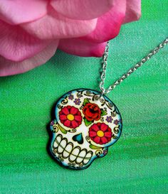 Sugar Skull Necklace by theringleader on Etsy, $15.95