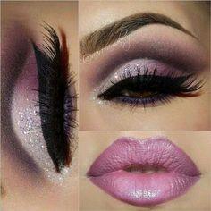 Pretty mauve lips and light and dark purple shadow.