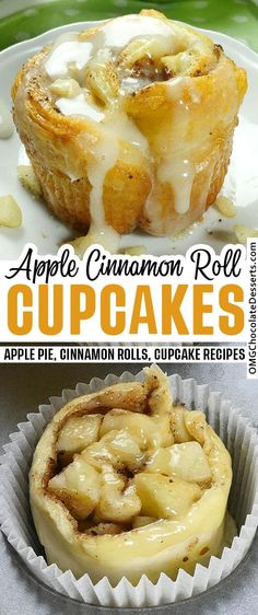Apple pie meets cinnamon rolls in this Fall treat that you won't want to. These really taste like warm, gooey apple cinnamon rolls! #apple #cinnamon #rolls #cupcakes Apple Dessert Recipes, Köstliche Desserts, Apple Recipes, Cupcake Recipes, Fall Recipes, Baking Recipes, Delicious Desserts, Yummy Food, Easy Fall Desserts