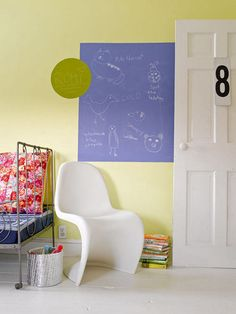 love these contact paper chalkboard paper rolls! super functional. totally repositionable! i have some in my learning room and in my kitchen....mental note: need to add to the boys room and the girls room, too!