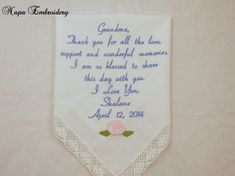 Gifts for Grandma Embroidered Wedding Handkerchief great for grandparent grandmother oma of the bride granny Napa Embroidery