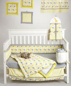 Yellow Zigzag Safari 10-Piece Crib Bedding Set by Pam Grace Creations #zulily #zulilyfinds