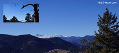 View of Mt Evans (Idaho Springs) from Mt Falcon Park (Parmalee Gulch) with an overlay of Mt Evans.