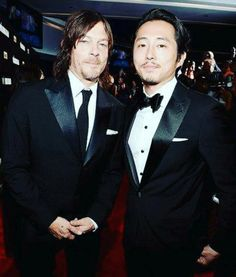Norman Reedus and Steven Yuen at the fan premier of The Walking Dead at Madison Square Garden. 10/9/2015