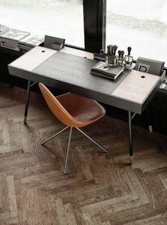 Minimal modern desk with beautiful tan chair