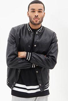 Faux Leather Varsity Jacket   21 MEN - 2000068489
