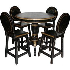 Painted Mahogany Bar Set French Country Dining Table, Rustic French Country, Painted Furniture, Furniture Sets, Outdoor Furniture, Outdoor Decor, Bar Set, Dining Chairs, Home Decor