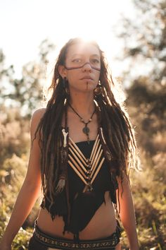 I walk in truth    Snake Brass Bells and bone hair pipes warrior tribal hemp braided chest plate