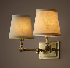 20TH C. Parisian Telescoping Double Sconce - Antique Brass