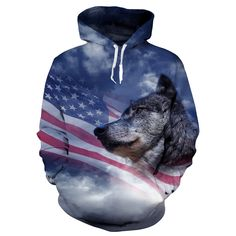 USA WOLF FLAG 3D HOODIE