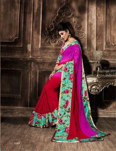 Red And Pink Georgette Latest Saree gunjfashion.com