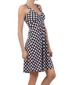 Another great find on #zulily! Black & White Polka Dot Surplice Dress #zulilyfinds