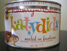 Katydids Candy in Tin Can | Vintage Kathryn Beich Katydids Candy Tin by colleenkays on Etsy