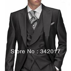 2014 cheap Groom Tuxedos Morning style Black One button Peak Lapel Groom Tuxedos Best Man Suits Groomsmen Men Wedding Suits