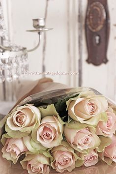 Vintage pink shabby roses