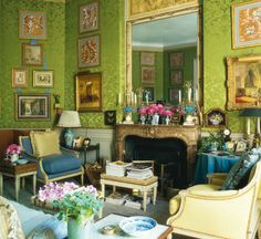 Fabulous predominantly apple green room, swathed in silk damask. Love.