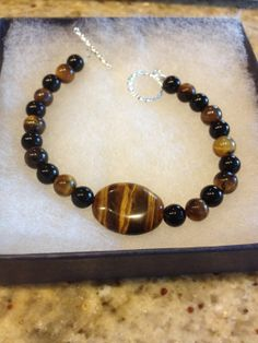 Tigers Eye With Agate Bracelet. All Natural Stone. Reiki Infused