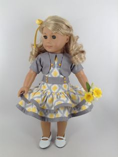 1930's American Girl 18-inch Doll Clothes - Ruffled Dress, Jacket, & Panties in Grey/Yellow/White