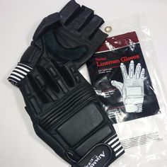 NEW Adams USA Padded Leather Lineman Gloves Adult Football Sports Wrist Strap-M #AdamsUSA