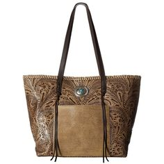 American West Santa Barbara Large Shopper Tote (Sand/Chocolate) Tote... ($258) ❤ liked on Polyvore featuring bags, handbags, tote bags, western handbags, shopper tote, white tote bag, american west handbags and flat pouch