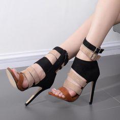 Shoespie Triple Color Ankle Wrap Stiletto Heel Sandals