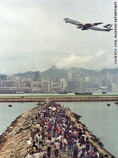Hong Kong's old Kai Tak Airport.  I loved flying into this airport.  Always thrilling!