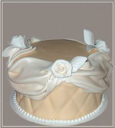 Birthday Cake, airbrushed sugar roses and fondant drapes, quilted Fondant design. Chocolate Cake with Chocolate Mousse