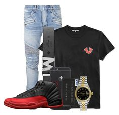 """Trey"" by og-kinghenry15 ❤ liked on Polyvore featuring Balmain, True Religion, MCM, Rolex, men's fashion and menswear"