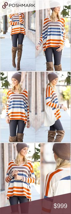 """Striped LS Casual Top Striped Casual LS Top  •Rust, teal, brown and off-white heathered stripes.  •Solid contrast back •Hi-Low Style •Oversized Loose fit •70% Polyester 24% Rayon 6% Spandex  Measurement: S-   Bust: 56"""" Length: 23/28"""" M-  Bust: 58"""" Length: 25/30"""" L-   Bust: 60"""" Length: 25/32""""  #MSA221298  ❗️Price is firm unless bundled❗️ Tops"""