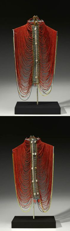 Africa | Beaded corset from the Dinka people of Sudan | Glass beads, cotton, iron alloy and cowrie shells