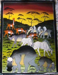 africanartonline.com - Going on Safari Oil on Canvas On Sale Now, $180.00 (https://africanartonline.com/Going-on-Safari-Oil-on-Canvas-tingatinga-painting)