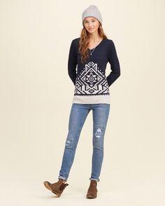 Suéter estampado con cuello en v