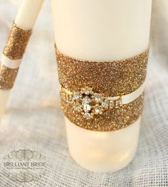 Gold Wedding Unity Candles white OR ivory - White Unity Candle W/ Gold Rhinestone unity candle set with lace and bling, candles for wedding Candle Lighting Ceremony, Wedding Unity Candles, Gold Candles, White Candles, Taper Candles, Wedding Matches, Gold Wedding, Wedding Colors, Wedding Ceremony
