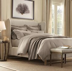 French Wing Upholstered Bed Without Footboard | Upholstered Beds | Sand (fabric) Restoration Hardware
