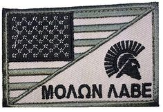 Patch Squad Men's USA Flag / Spartan Head Molon Labe Military Morale Patch