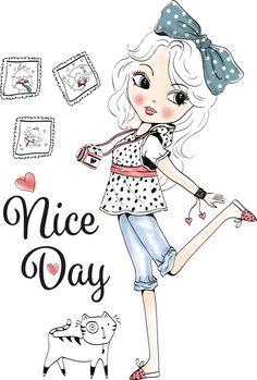 Minimalistic Hand Drawn Japanese And Korean Girls Illustration Vector Girl Cartoon, Cute Cartoon, Cartoon Drawings, Cute Drawings, Illustration Girl, Digi Stamps, Copics, Whimsical Art, Fashion Kids