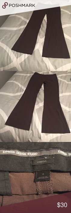 Chocolate brown Express editor flare dress pants Chocolate brown dress pants from Express size 2. Editor edition with flared legs. Worn once but didn't fit the way I would like. See picture for tag stating fabric. Smoke free environment. Open to offers! Express Pants Trousers