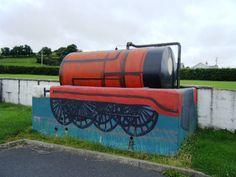 Errill, Co. Laois  Novel way to disguise oil tank, in school yard