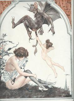 La Vie Parisienne La Guigne Print by TheJunkEmporium on Etsy Dark Fantasy Art, Dark Art, Le Kraken, Satanic Art, Arte Obscura, Ange Demon, Occult Art, Arte Horror, Vintage Horror