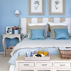 Coastal Bedroom Ideas – If you think coastal design close to anchors, blue and white, and seashells. You refer the name to exactly what it . Blue Rooms, Blue Bedroom, Bedroom Colors, Dream Bedroom, Bedroom Wall, Master Bedroom, Bedroom Decor, Bedroom Ideas, Blue Walls