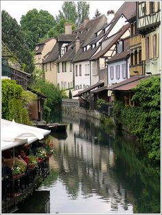 waterside houses and restaurant in Colmar France