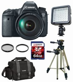 Canon EOS 6D w/ EF24-105mm IS + Canon 300DG Bag + Led 72 Video Light + Tripod + Filters + 64GB (10) Deluxe Kit by Canon. $2975.00. The Willoughby's Kit Includes:  1. Canon EOS 6D 20.2 MP CMOS Digital SLR Camera with 3.0-Inch LCD and EF24-105mm IS Lens Kit 2. Canon 300DG Black Digital Gadget Bag 3. PhotoAmerica LED-72 Professional Video Light (with White Filter 5600K and Yellow Filter 3200K) 4. LEXSpeed 64 GB Class 10 SDXC Ultra Speed Flash Memory Card 5. All in One Card Reader 6...
