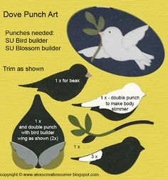 Alex's Creative Corner - Dove Christmas punch art card instructions