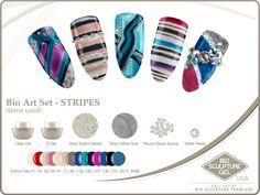 Stripes Art Set Bio Sculpture Gel Nails, Nail Art Galleries, Creative Inspiration, Nail Ideas, Sculpture Art, Stripes, Image, Nail Art Ideas