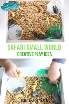 We love this Safari Small World, in fact any small world activity! It's always a breeze to set-up and the kids stay happy, independent and busy for a long time!  #smallworldplay #sensorybin #safariactivity Activities For 2 Year Olds, Outdoor Activities For Kids, Preschool Activities, Sensory Bins, Sensory Play, Small World Play, Stay Happy, Creative Play, Imaginative Play